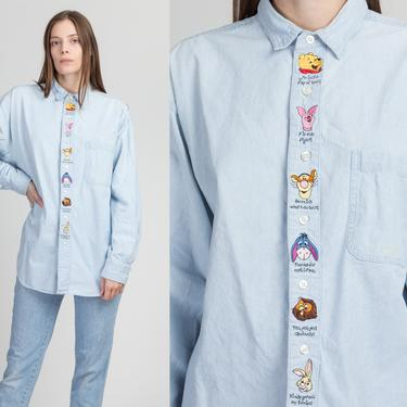 90s Winnie The Pooh Chambray Shirt - Men's XL | Vintage Unisex Embroidered Button Up Long Sleeve Collared Top by FlyingAppleVintage