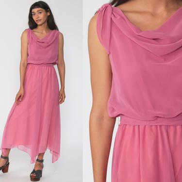 70s Pink Party Dress Boho Grecian Dress 1970s Maxi Dress Party Long High Waist Drape Gown Formal High Low Hem Small by ShopExile