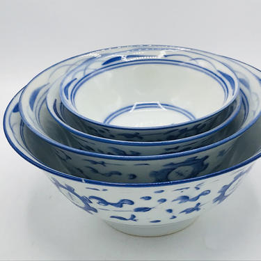 Vintage Nesting Rice Bowl Set of 4  Blue and White with hand painted floral design- Chip Free by JoAnntiques