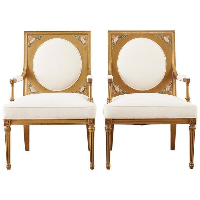 Pair of Louis XVI Swedish Gustavian Style Gilt Armchairs by ErinLaneEstate