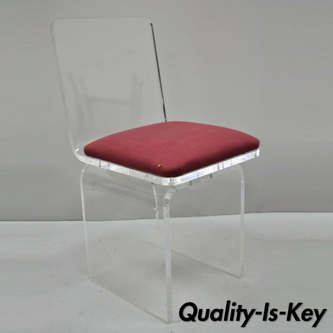 Vtg Thick Lucite Mid Century Modern Waterfall Swivel Vanity Side Chair by Hill