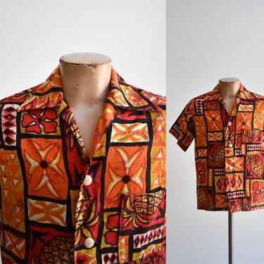 1960s Red & Orange Hawaiian Button Down Shirt by milkandice