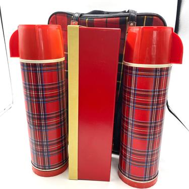 Rare Vintage Universal Picnic Lunch Bag Set, Plaid Bag and Plaid Thermos, Red, Black, Yellow,  Metal Lunch Box, Mid Century, MCM, Red Cup by TripodVintage