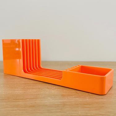 Mid Century Modern Orange Arlac Triset Desk Accessories Organizer by DelveChicago