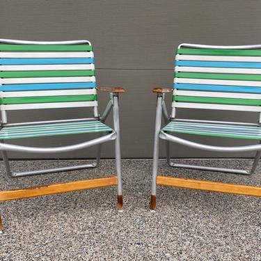Set of 2 Vintage Telescope Vinyl Straps Aluminum Frame Folding Lawn Chairs by DesertCactusVintage