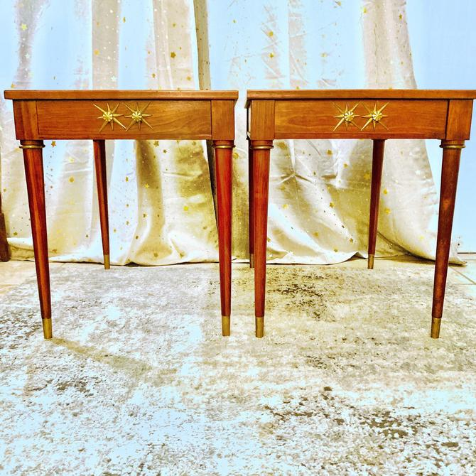 Mid Century Tapered Cherry End tables by Brandt by OMGaudyLA