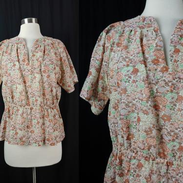 Vintage Seventies Semi-Sheer Large Floral Short Sleeve Pepum Blouse - 1970s 70s Floral Print Top by JanetandJaneVintage