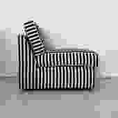 1970s Milo Baughman for Thayer Coggin Striped Lounge Chair- Each