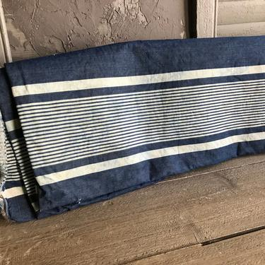 French Stripe Linen Ticking, Dark Indigo Blue, Upholstery Sewing Projects, French Fabric Textiles by JansVintageStuff