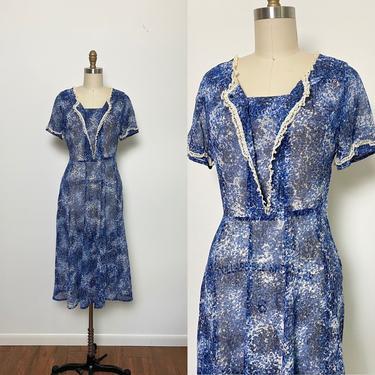 Vintage 1940s Dress 40s Cotton Floral Sheer Blue and White by littlestarsvintage