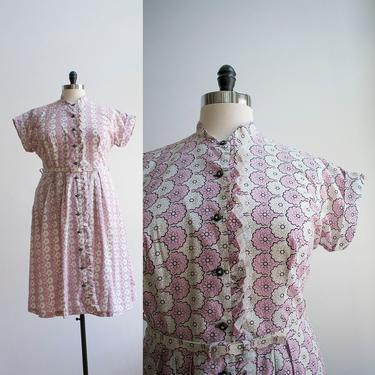 Pink and White 1950s Floral Dress / 1950s Cocktail Dress / Pink Floral Print Dress / 50s Plus Sized Dress / Vintage Lane Bryant Dress XL by milkandice
