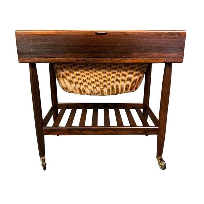 Vintage Danish Mid Century Modern Rosewood Sewing Cart by Ejvind Johansson by AymerickModern