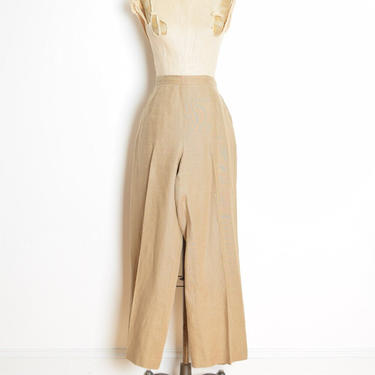 vintage 90s Y2K pants beige linen high waisted wide leg trousers neutral XL clothing by huncamuncavintage
