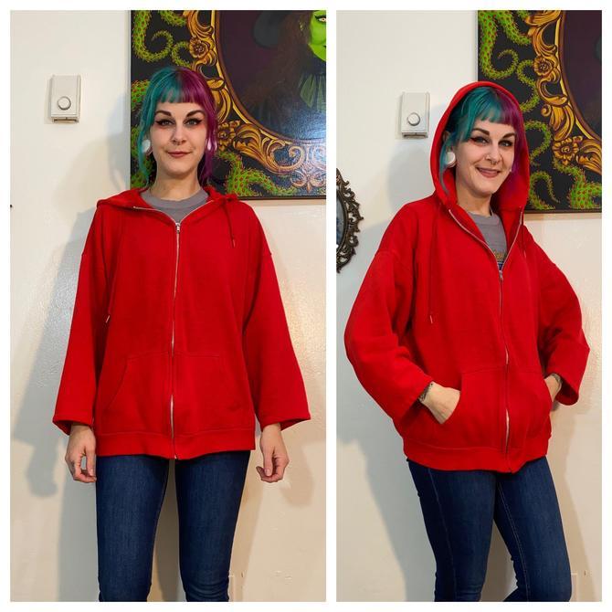 Vintage 1980's Red Zipper Hoodie by SurrealistVintage