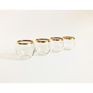 Mid Century Gold Rimmed Roly Poly Cordial Glasses / Set of 4 by SergeantSailor