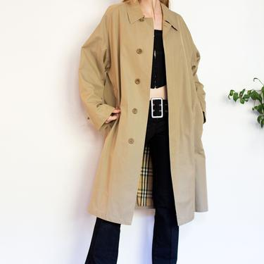 BURBERRY LONDON Vintage Classic Taupe + Nova Check Lined Slouchy Trench Coat Haymarket Jacket Burberry's Plaid 80s 90s Tan L XL by backroomclothing
