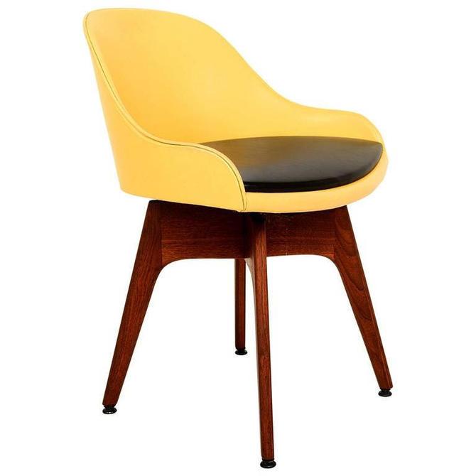 Mid-Century Danish Modern Walnut Revolving Chair by AMBIANIC