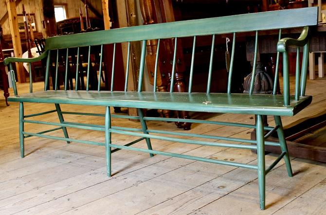 Deacons Bench in Green Paint, Late 1800's