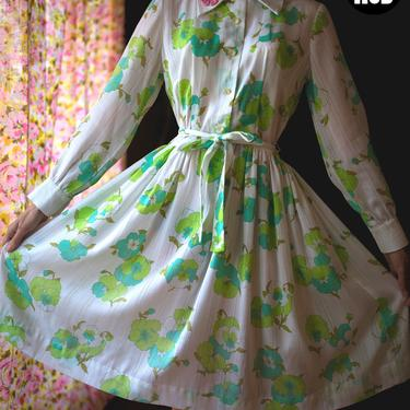 Lovely Vintage 60s 70s White & Green Floral Fit and Flare Cotton Dress with Big Collar by RETMOD