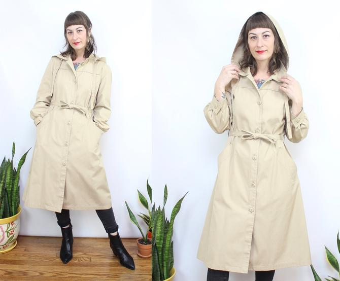 Vintage 70's 80's Tan LONDON FOG Hooded Trench Coat / 1970's London FOG Jacket / Khaki Dress Coat / Women's Size Small by RubyThreadsVintage