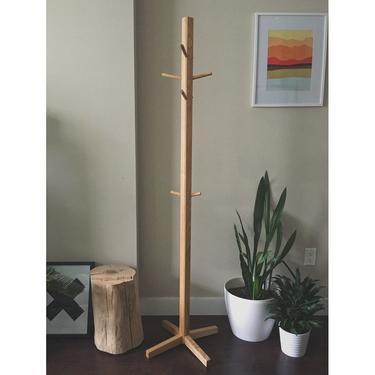 The Stand - American Ash Midcentury Standing Coat Rack by BevelDownDesign