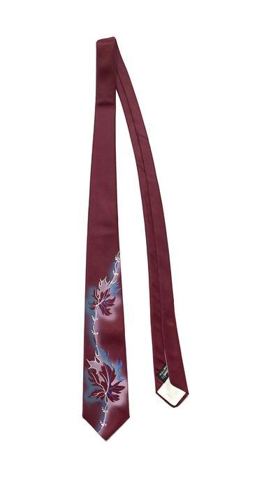 Vintage 1940s/1950s Hand Painted Fashion Craft Neck Tie ~ Rockabilly ~ VLV ~ Tiki / Atomic ~ Cravat by SparrowsAndWolves