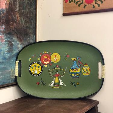 Vintage MCM Green Brass Decorated Tray Painted Details Knitting Patterns Home Decor Table mid century modern retro by BigWhaleConsignment