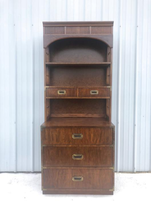 Mid Century Campaign Style Five Drawer w Shelving