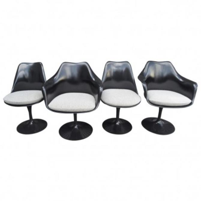 Set of Four Black Tulip Chairs by Eero Saarinen for Knoll