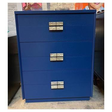 """Tall navy blue painted chest with 6 drawers 34.2"""" long / 20"""" deep / 44"""" tall"""