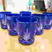 Vintage Antique style set of 6 cobalt glasses