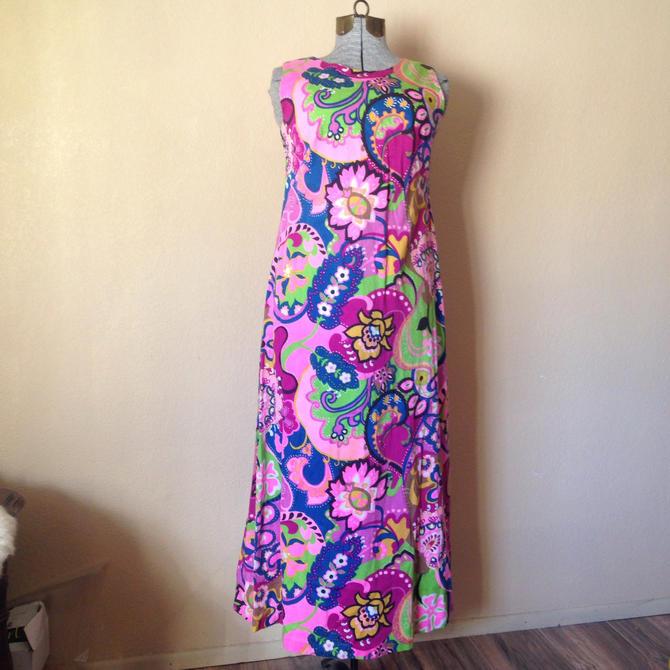 148eecd930e Vintage 60s 70s Psychedelic Acid Floral Dress Sleeveless Maxi Hawaiian  Vibrant Neon Pink Rainbow Paisley Groupie