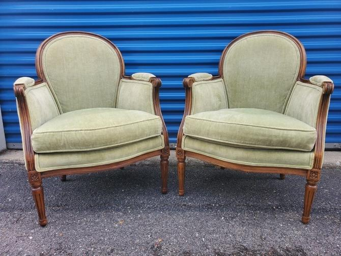 Baker Furniture French Provincial Louis XVI Fauteuils Chairs  - Pair