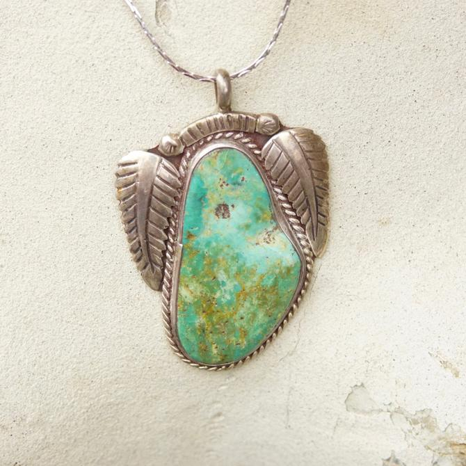 Vintage Signed RVT Native American  Turquoise Pendant, Large Turquoise Stone With Silver Leaf Setting, Navajo Handmade Pendant, 925 by shopGoodsVintage