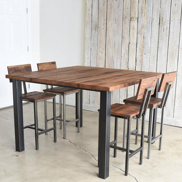 Reclaimed Square Pub Table with Post Metal Legs by wwmake