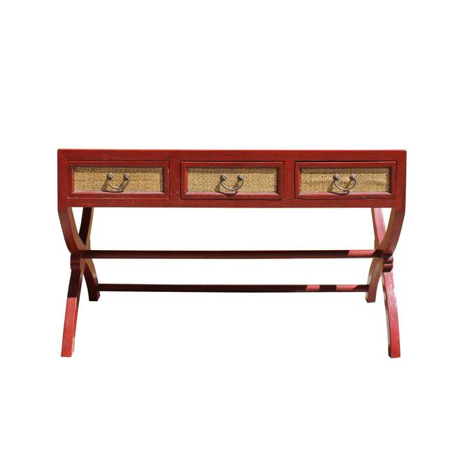 Chinese Rough Distressed Red Rattan Cross Leg Writing Desk Table cs5787S
