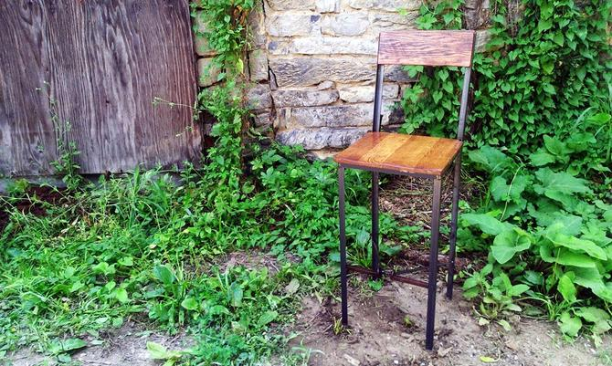Free Shipping! The Millworks Industrial Style Reclaimed Wood Bar Stools with Railroad Spike Footrest by StrongOaksWoodshop