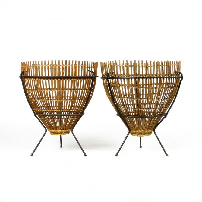 Pair of Wrought Iron and Rattan Side Tables