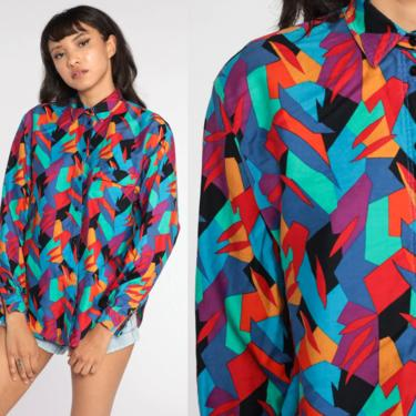 Bright Geometric Shirt 80s Shirt Liz Claiborne Sport Oversized Button Up Blouse 90s Print Vintage Long Sleeve Small S by ShopExile