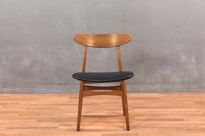R-Way Mid Century Walnut & Leather Side Chair