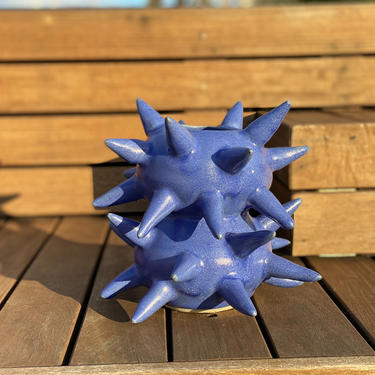 Blue Spiked Ceramic Vase - Unique Handmade Pottery in Stoneware by BirdstoneCeramics