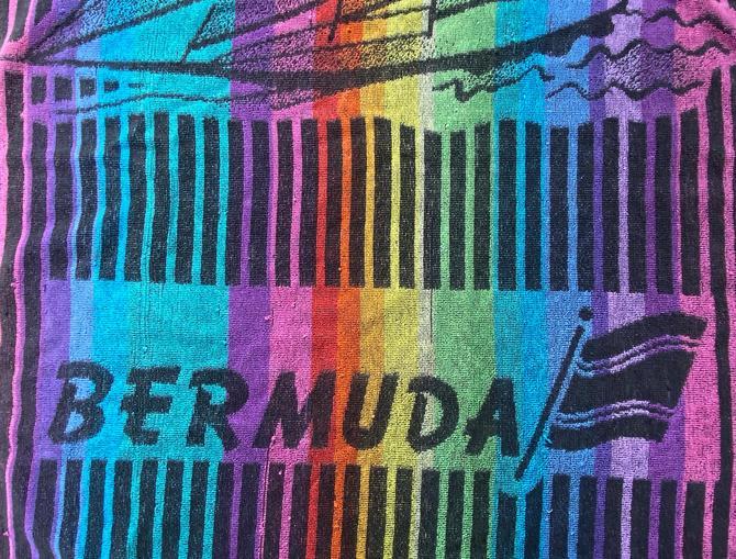Vintage Bermuda Rainbow Beach Towel, Sailboat Towel, Pool Towel, Bermuda Souvenir by luckduck