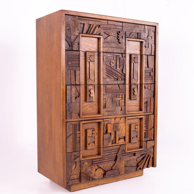 Paul Evans Style Lane Pueblo Brutalist Walnut 5 Drawer Mid Century Highboy Dresser by ModernHill