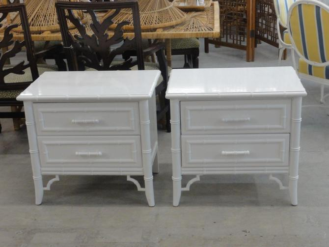 Pair of Lacquered Faux Bamboo Nightstands