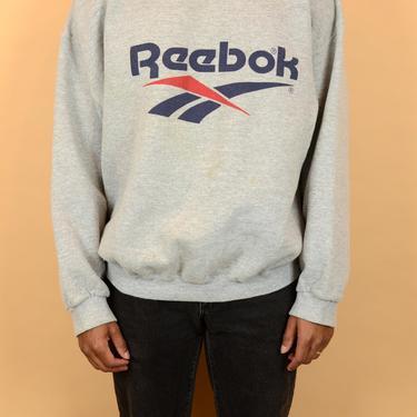 Vintage 90s Reebok  Grey Distressed  Pullover Sweater Sweatshirt XL Oversize by MAWSUPPLY