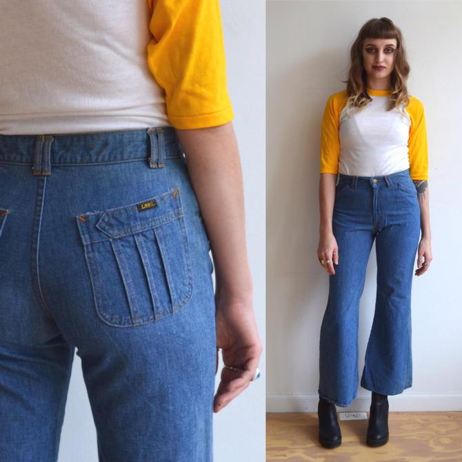 3e11468b Vintage 70's Lee Denim/ Cropped Bell Bottom Jeans/ Lee ...
