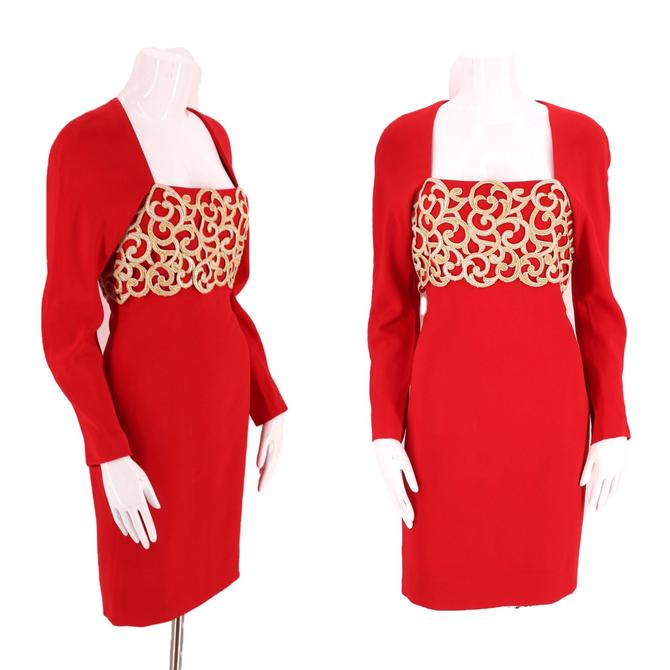 80s ADELE SIMPSON red cocktail dress 4-6 / 1980s vintage rayon crepe w/ gold cage appliqué S by ritualvintage