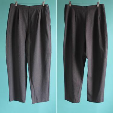 Gray Pinstripe High Waist Trousers XL 1980's by BeggarsBanquet