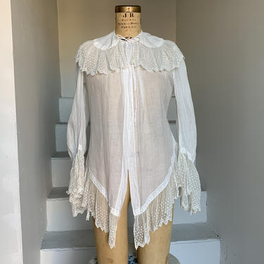 1880s Lovely Belle Epoque Era Blouse Embroidered Tulle and Cambric Cotton 36 Bust by AmalgamatedShop