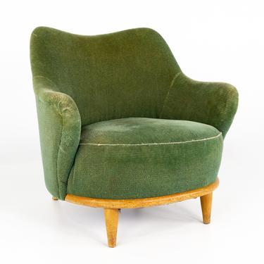 Heywood Wakefield Mid Century Green Velvet Upholstered Tub Lounge Chair - mcm by ModernHill